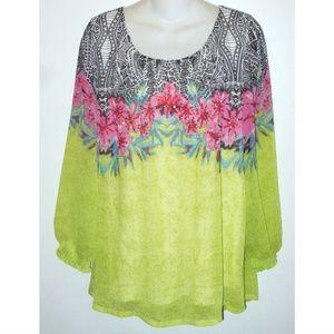 SOFT SURROUNDINGS Floral Sequin Chiffon Top